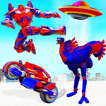 Flying Ostrich Robot Transform Bike Robot Games  38 (MOD Unlimited Money)